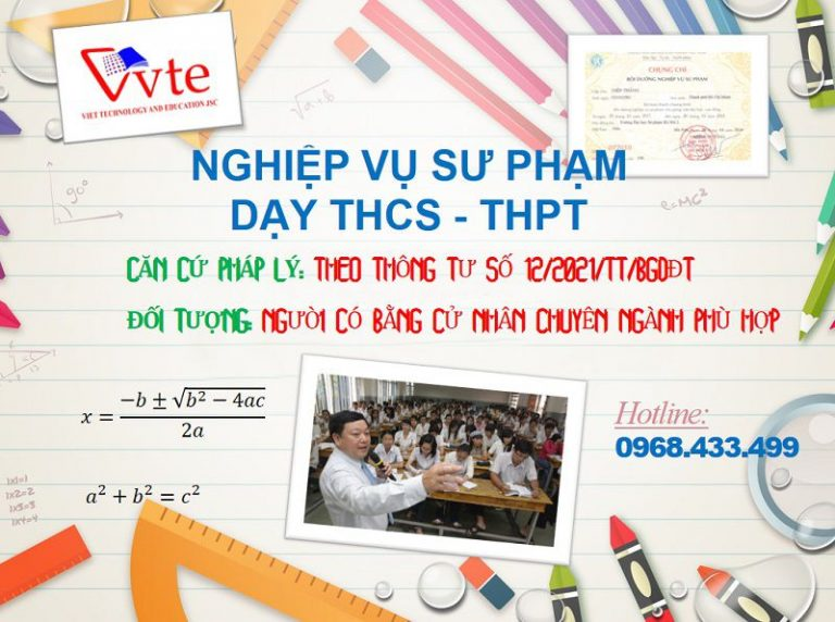 Chứng chỉ nghiệp vụ sư phạm DÀNH CHO giáo viên dạy THCS, THPT